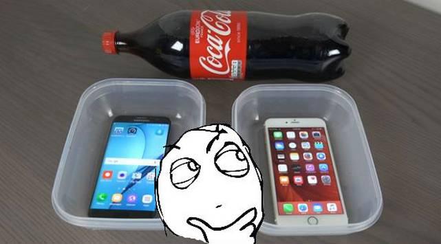 ¿Qué pasa si remojas un Samsung S7 Edge iPhone 6s en Coca Cola? ¡Y los congelas!