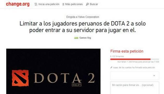 Dota 2: Piden firmas para que peruanos solo puedan jugar en su servidor