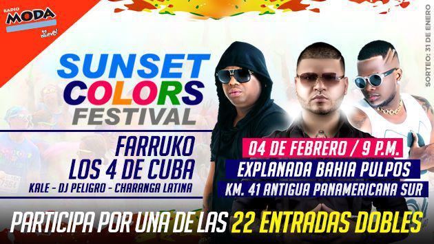 ¡Participa por entradas para el 'Sunset Colors Festival' con Farruko y Los 4 de Cuba!