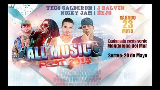 Gana entradas dobles para el All Music Fest con Nicky Jam, J Balvin, Ñejo y Tego Calderón