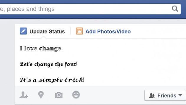 Facebook y el truco para cambiar el tipo de letra de tus publicaciones
