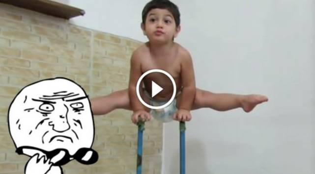 Bebé de dos años hace increíbles acrobacias ¡Tienes que verlo!