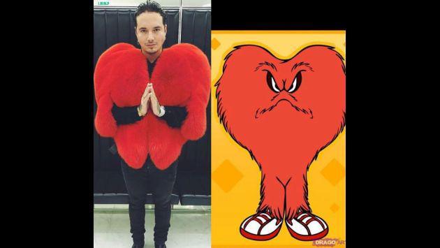 ¡J Balvin se burla de sí mismo con memes de su abrigo de corazón!