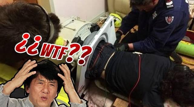 Sujeto quedó atrapado en lavadora por 3 horas y ¡tuvo que ser rescatado por bomberos!
