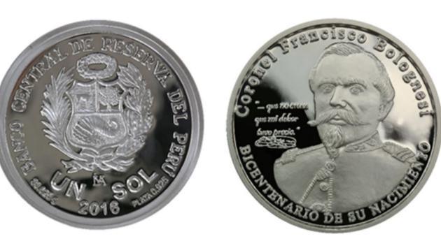 ¡Así luce la moneda de un sol que conmemora los 200 años del nacimiento de Francisco Bolognesi!