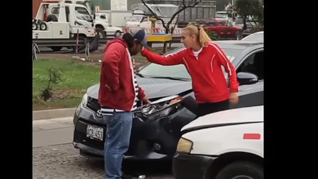 Taxista chocó el auto de Natalia Málaga y así reaccionó