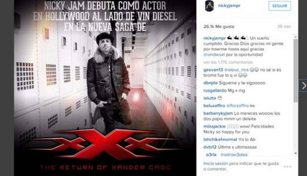 Nicky Jam debutará como actor y participará en película junto a Vin Diesel
