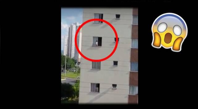 Bebé estuvo a punto de caer de edificio y video se vuelve viral