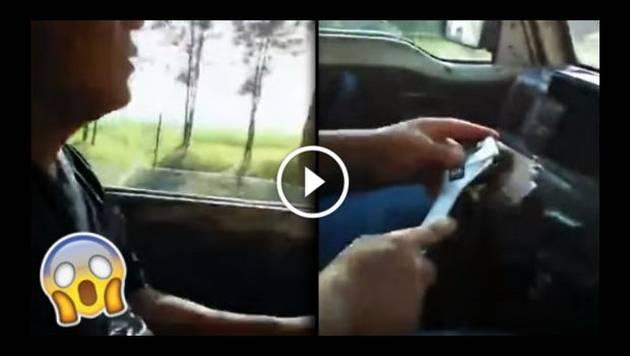 WTF?! Chofer irresponsable maneja vehículo con llave inglesa