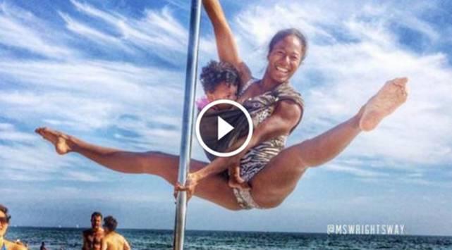 WTF?! Madre da de lactar a su bebé mientras hace pole dance