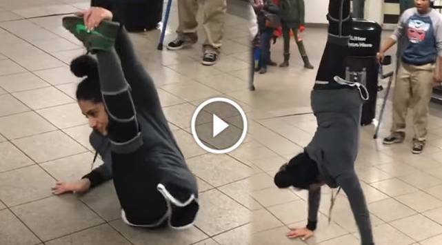 Chica la rompe bailando breakdance ¡Con una sola pierna!