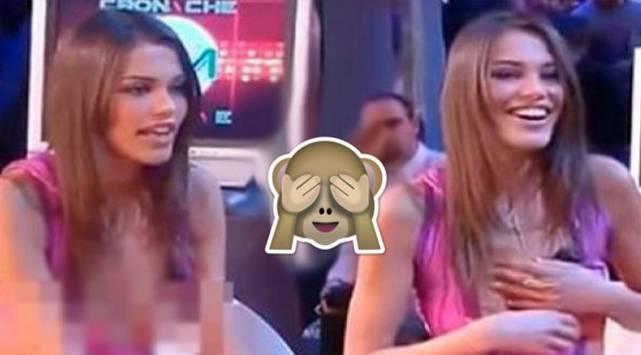 Modelo italiana pasa roche en programa de televisión por travieso escote