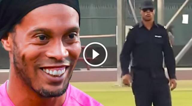 Ronaldinho se vistió como guardia de seguridad y sorprendió a unos fans