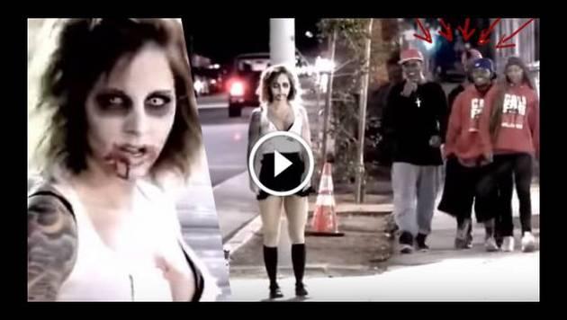 Sexy zombie le da una lección a estos hombres 'mañosos'