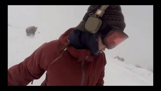 Un oso estuvo a punto de atacarla y ella ni enterada [VIDEO]