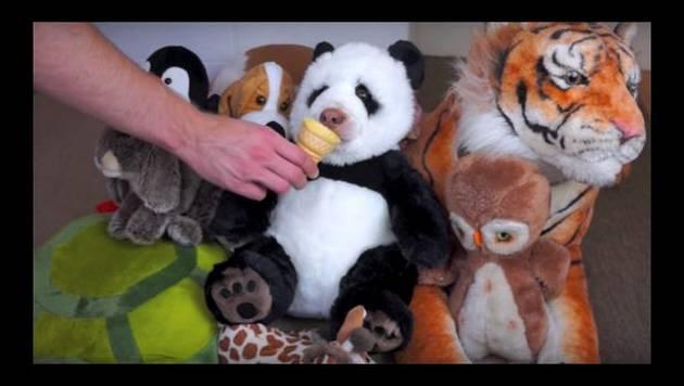Peluche de panda 'cobra vida' gracias a cono de helado [Video]
