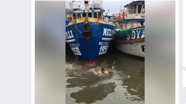 El pescador que se arrojó al agua para salvar a un gato [VIDEO]