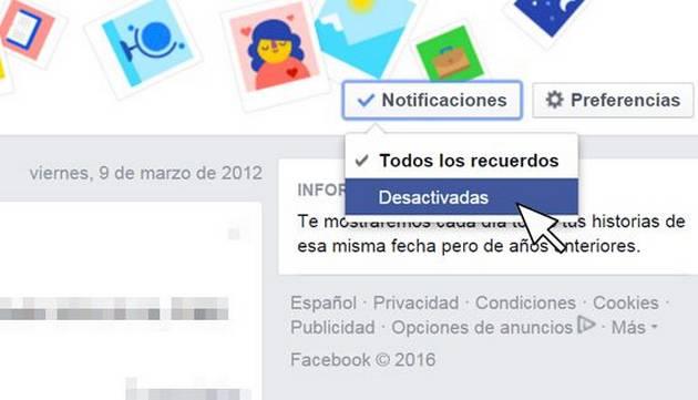 ¿Cómo desactivar 'Un día como hoy' de Facebook?