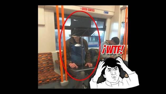 Lleva a su bebé en brazos y trabaja en su laptop ¡en el metro de Londres!