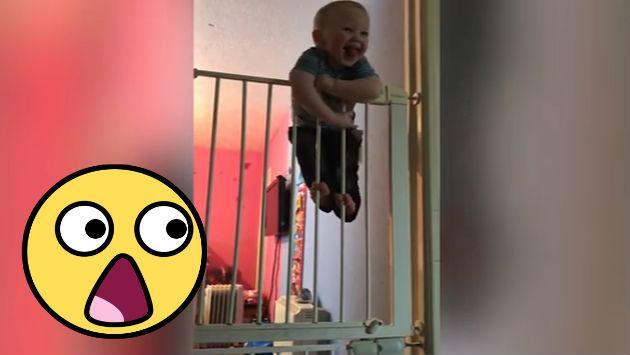 ¡Este bebé te sorprenderá por su habilidad de 'escape'! [VIDEO]