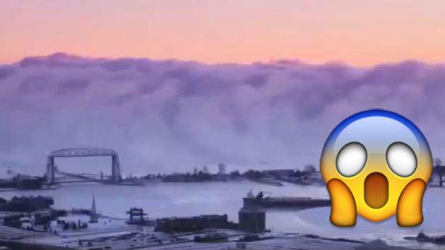 ¡Qué miedo! Niebla apareció sobre un lago y causó terror [VIDEO]