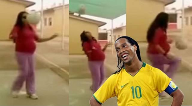 ¡Tiene 8 meses de embarazo y domina el balón como Ronaldinho!
