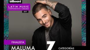 Maluma va con siete nominaciones en los Premios Billboard de la Música Latina 2017