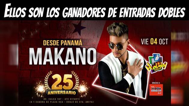 Ellos ganaron entradas para el concierto de Makano en Discoteca Holiday