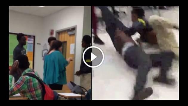 Jóvenes protagonizan pelea en pleno salón de clase
