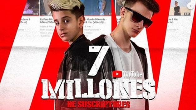 Adexe & Nau festejaron los 7 millones de suscriptores en YouTube