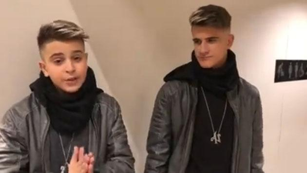Adexe y Nau, en el preestreno de 'Jumanji' [VIDEO]