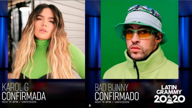 Bad Bunny y Karol G se presentarán en los Latin Grammy 2020
