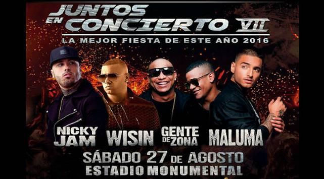 ¡No te pierdas a Nicky Jam, Maluma, Wisin y Gente de Zona en Juntos en Concierto VII!