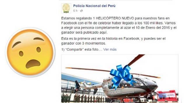 ¿La Policía Nacional está sorteando un helicóptero?