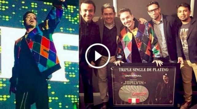 J Balvin recibió Triple Single de Platino por el éxito de 'Ginza' en Perú