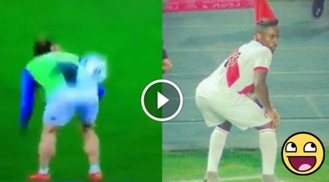 Futbolista domina el balón con su trasero