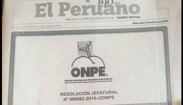 WTF! Usan parodia de logo de ONPE en diario El Peruano