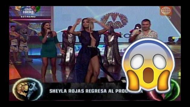 ¡Suave! Pronunciado escote le jugó una mala pasada a Sheyla Rojas