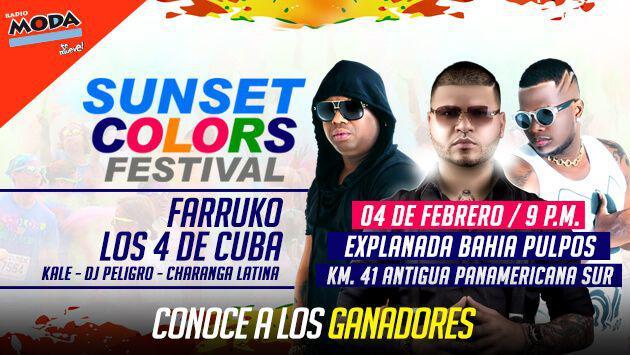 ¡Salieron los ganadores de las entradas para el 'Sunset Colors Festival' con Farruko y Los 4 de Cuba!