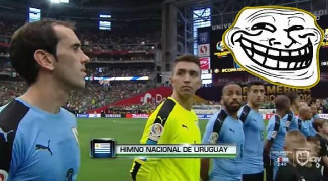 Selección de Uruguay fue troleada al momento de los himnos