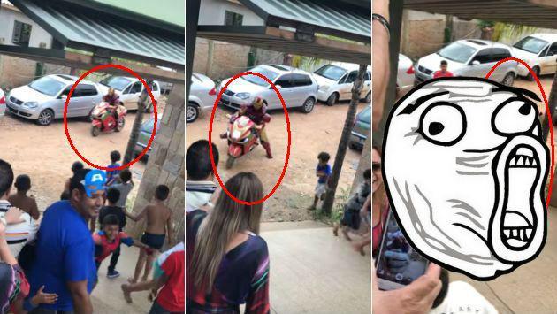 ¡Este 'Iron Man' en moto no la pasó bien en fiesta infantil! [VIDEO]