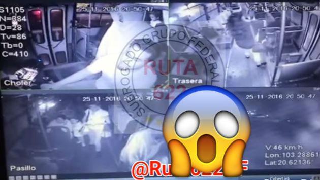 ¡Chofer de bus fue salvado de ladrón por esta pasajera! [VIDEO]