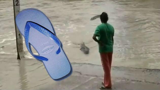 ¡El poder de la 'chancla'! Mujer enfrentó a un cocodrilo con su sandalia