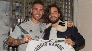Maluma cumplió sueño de conocer a Sergio Ramos en el Santiago Bernabéu