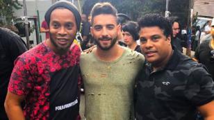 Maluma graba el videoclip de 'Corazón' junto a Ronaldinho