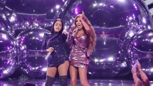 Natti Natasha celebra con Thalía el éxito de 'No me acuerdo'